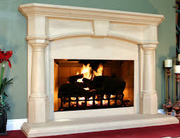 decorating luxury white fireplace mantel kits with beige wall and