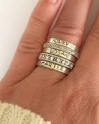 Custom Rings With Names Stacking Rings Sterling Silver Stacking Ring By Smmade On