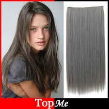 ladies hair pieces for gray hair women hair extensions dark grey color high tempreture long natural