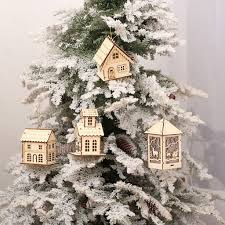 mini led wood house christmas tree ornaments random delivery