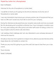 thank you letter for a receptionist interview forums learnist org