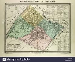 Paris France Map by Map Of The 15th Arrondissement De Vaugirard Paris France Stock