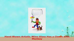 cartoon wine glass yurana designs clown with monkey hand blown wine glass w304