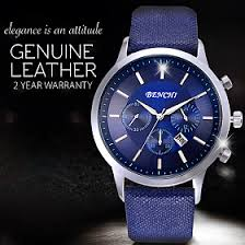 Mens Bench Watch Benchi Genuine Luxury Leather Watch For Men 3932 Blue Only For