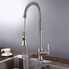 brushed nickel finished brass kitchen faucet with pull out spray
