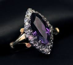 amethyst diamond engagement ring liquidation sale 18k marquise shaped amethyst and diamond dress