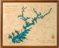 Map Of Georgia Lakes 3d Laser Carved Wood Lake Maps Lakehouse Lifestyle