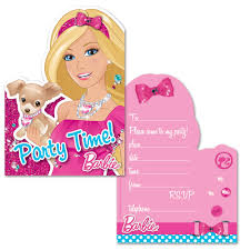 barbie invitation cards barbie theme party party ark
