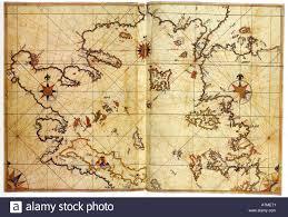 Aegean Sea Map Historical Chart Of North Aegean Sea By Piri Reis Kitab I Bahriye