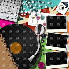 collage with dj and party elements mixer console and dj