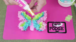 kids craft tissue paper butterflies with mod podge washout youtube