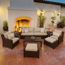 Wicker Patio Conversation Sets Shop Rst Brands Deco Slate Grey 8 Piece Wicker Patio Conversation