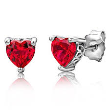 byjoy jewellery byjoy 925 heart shaped ruby stud earrings co uk jewellery