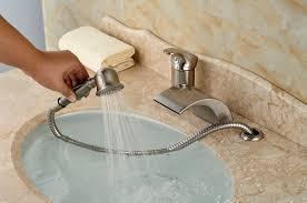 monora brushed nickel waterfall tub faucet three handles brushed nickel waterfall tub faucet best waterfall 2017