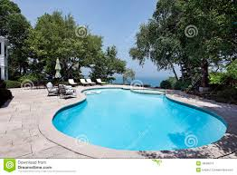 swimming pool with lake view stock images image 18090074
