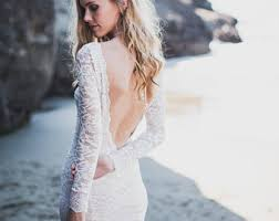 Long Sleeve Lace Wedding Dress Open Back The Free Spirited Bride By Wearyourlovexo On Etsy