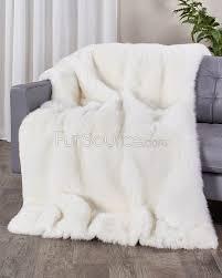 Faux Fur King Size Blanket Full Pelt White Fox Fur Blanket Fur Throw Fursource Com