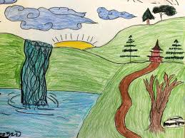 simple landscape drawing kids helpful art teacher brush