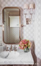 Pink Powder Room Houston Home With Great Use Of Texture Traditional Home