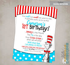 cat in the hat birthday party invitation custom dr seuss