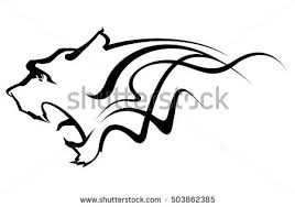 tiger abstraction black isolated tiger tribal stock vector 503862385