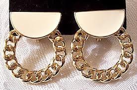 hoop clip on earrings monet link chain hoop clip on earrings gold vintage beige half