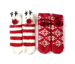 fuzzy christmas socks bene women s winter animal christmas fuzzy socks set reindeer