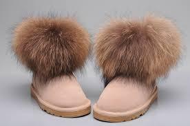 womens ugg boots fox fur fox fur mini boots 5854 sand
