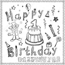 birthday party elements colored hand drawn sketch with numbers