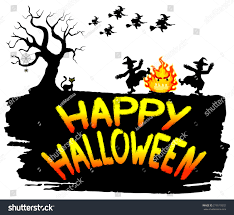 halloween dance clipart vector illustration witches dancing around fire stock vector