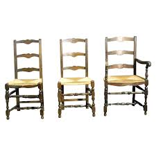 4 french antique ladder back dining chairs with rush seats from