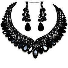 black necklace with crystal images Jet black crystal necklace set elegant formal wedding jewelry jpg