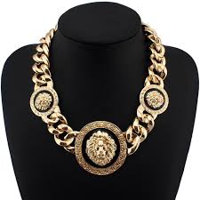 gold chain bib necklace images 3 metal lion head chunky acrylic chain necklace statement jewelry jpg
