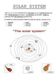 english teaching worksheets solar system