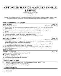 Bank Manager Resume Samples by Customer Service Manager Resume Samples Resume Template For