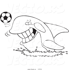 vector of a cartoon orca playing with a soccer ball coloring