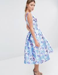 sateen prom dress in floral print by chi chi london blue purple