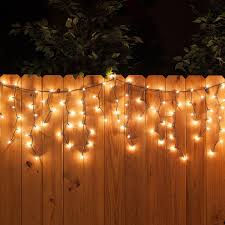 100 icicle lights clear green wire yard envy
