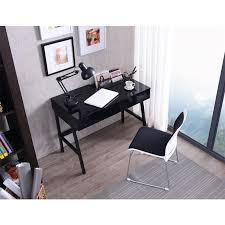 bureau ordinateur design informatique design noir brillant avec tiroirs