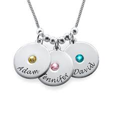 mothers birthstone jewelry s disc and birthstone necklace mynamenecklace
