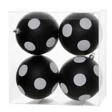 4 black white polka dot glitter ornament 4 per