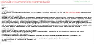 Working At Hotel Front Desk Hotel Front Office Manager Offer Letter
