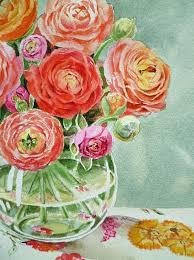 Glass Vase Painting Ranunculus In The Glass Vase Painting By Irina Sztukowski
