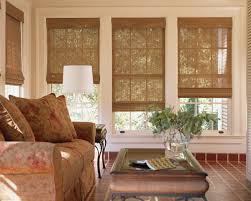 stock photo large windows in a house showing the window treatments