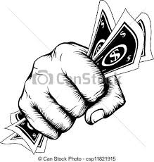 vector clip art of hand fist with cash illustration hand in a