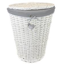 woodluv large rectangular laundry linen wicker basket with hinged