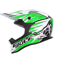 helmets for motocross wulfsport advance green white black motocross helmet light wulf