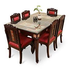 Teak Wood Dining Tables Exclusivelane Teak Wood 6 Seater Dining Table Chair With Warli