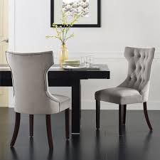 dorel clairborne taupe microfiber tufted dining chairs set 2