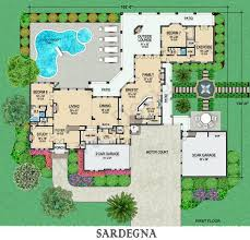 Luxury Mansion House Plan First Floor Floor Plans Sardegna Courtyard Floor Plan Mediterranean Floor Plans